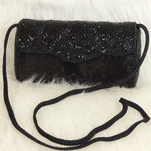Vintage Black Beaded Barrel Bag